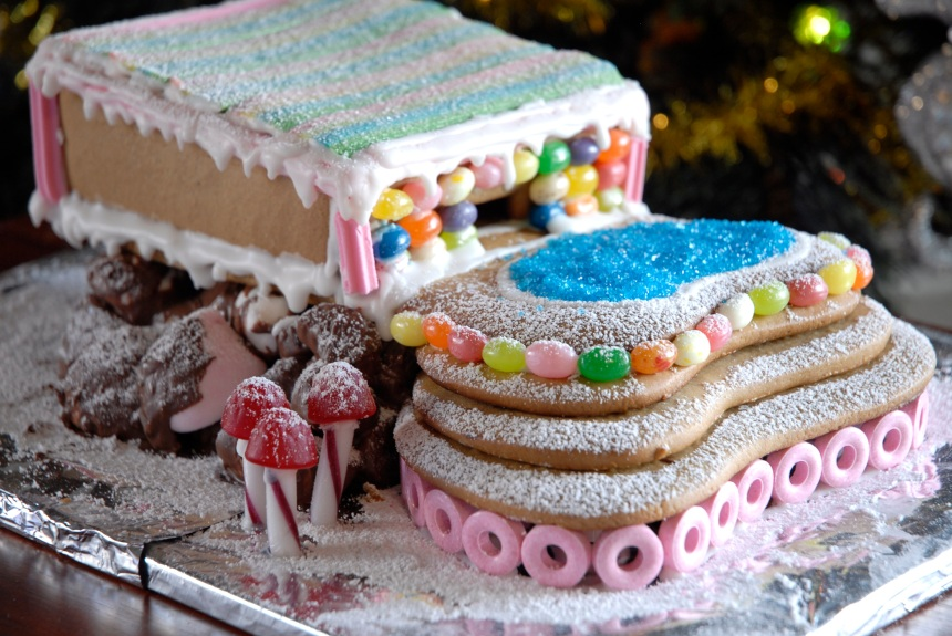 Gingerbread house with pool