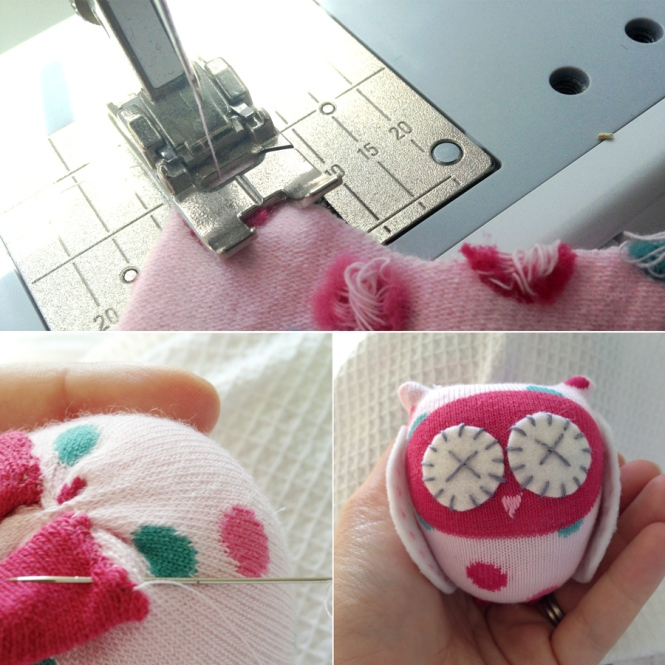 Sewing sock owls