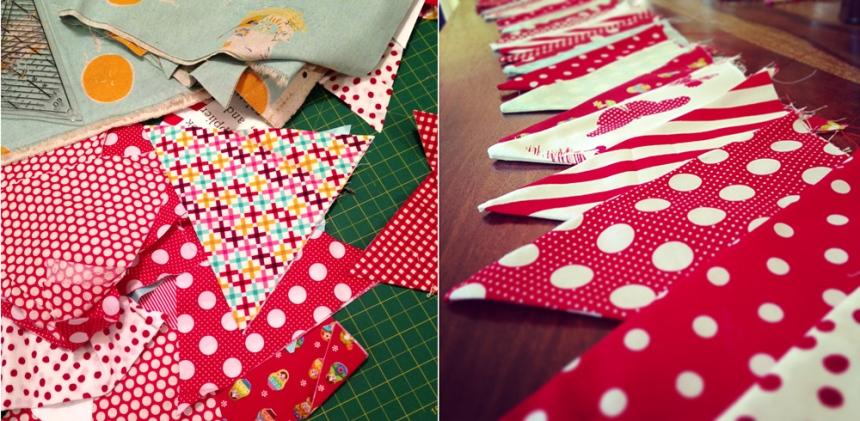 Sewing Bunting in progress